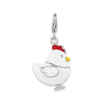 Sterling Silver Amore La Vita Rhodium-plated Enameled Chicken Charm