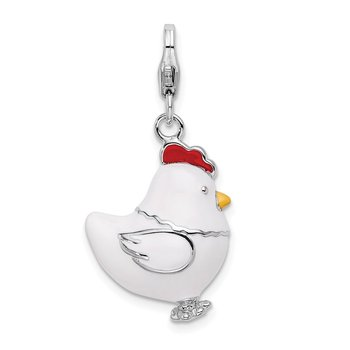 Sterling Silver RH w/ Lobster Clasp Enamel Chicken Charm