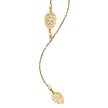 Leslie's Sterling Silver Gold-tone Leaf w/ 1.5 in ext. Necklace