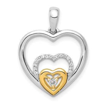 14k Two-Tone 1/15ct. Diamond Triple Heart Pendant