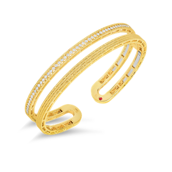 18Kt Gold Double Symphony Barocco Bangle With Diamonds