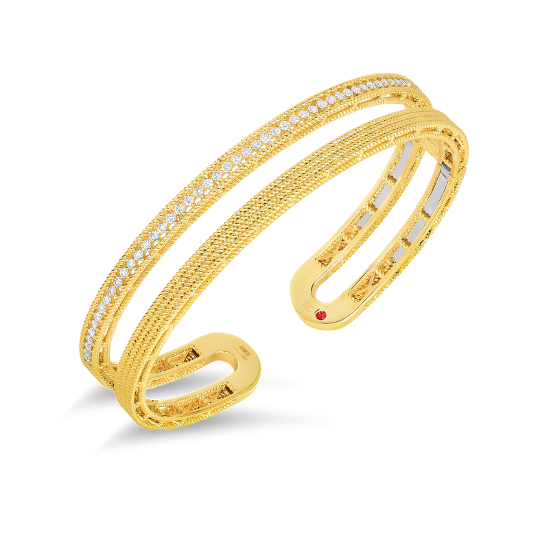 Roberto Coin Double Symphony Barocco Bangle With Diamonds