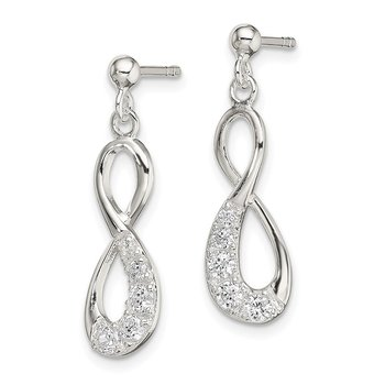 Sterling Silver CZ Infinity Loop Dangle Earrings
