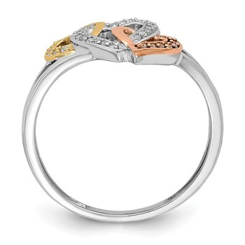 Sterling Silver Rhodium & 14k Yellow/Rose Gold Diam.s Three Heart Ring