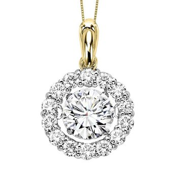 14K Diamond Rhythm Of Love Pendant 2 ctw (1 1/2 ct Center)