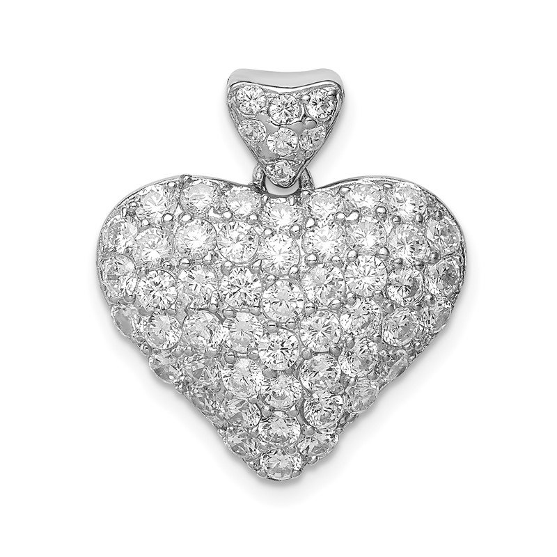Quality Gold Sterling Silver CZ Puffed Heart Pendant
