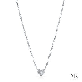 White Gold Petite Heart Necklace