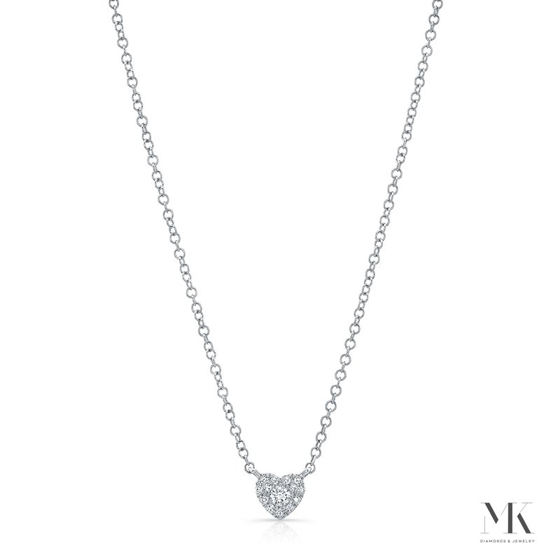 MK Diamonds White Gold Petite Heart Necklace