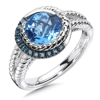 Sterling silver, blue topaz and blue diamond ring