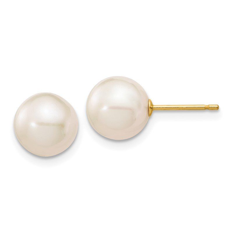Quality Gold 14k 8-9mm White Round Freshwater Cultured Pearl Stud Post Earrings