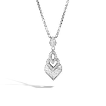 Legends Naga Pendant Necklace in Silver with Diamonds