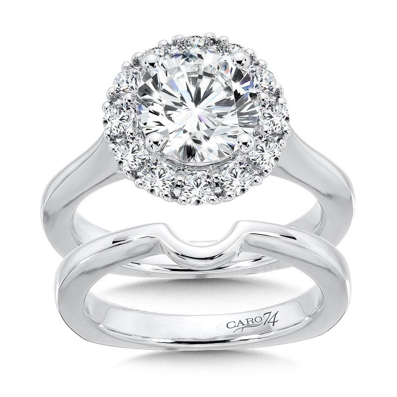 Caro74 Classic Elegance Collection Halo Engagement Ring in 14K White Gold (2ct. tw.)