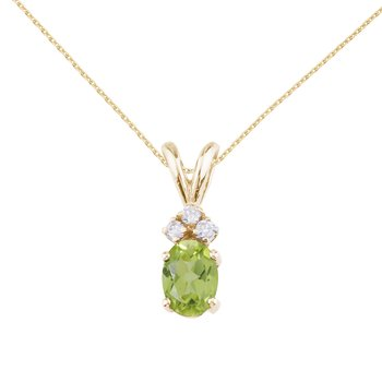 14K Yellow Gold Oval Peridot and Diamond