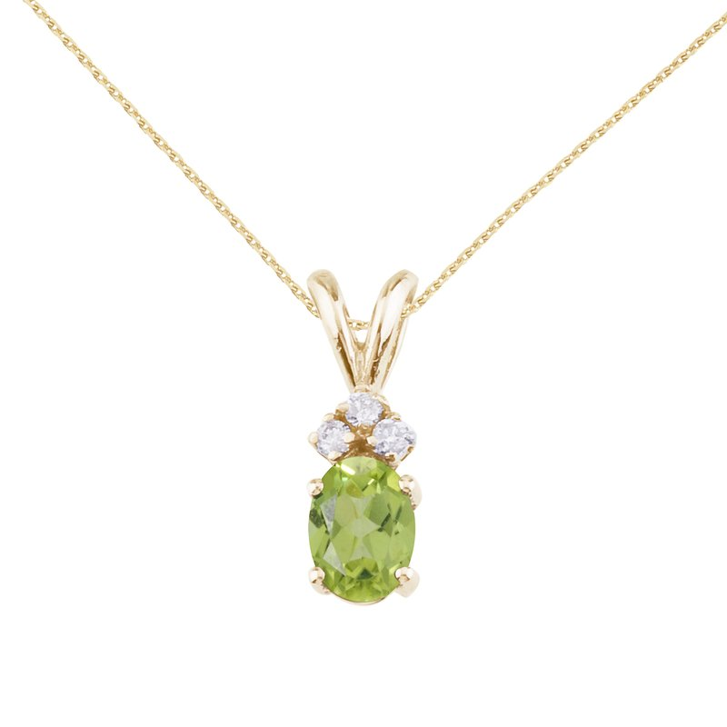 Color Merchants 14K Yellow Gold Oval Peridot and Diamond