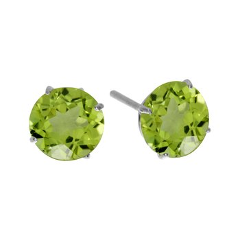 6mm Round 14k White Gold Peridot Stud Earrings