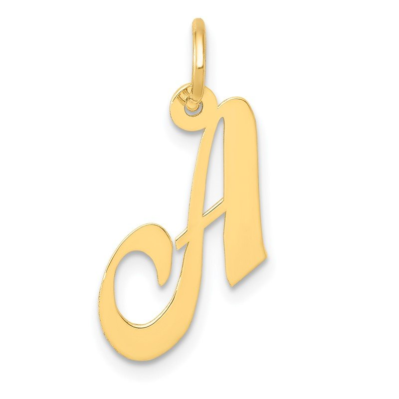 Quality Gold 14K Small Fancy Script Letter A Initial Charm