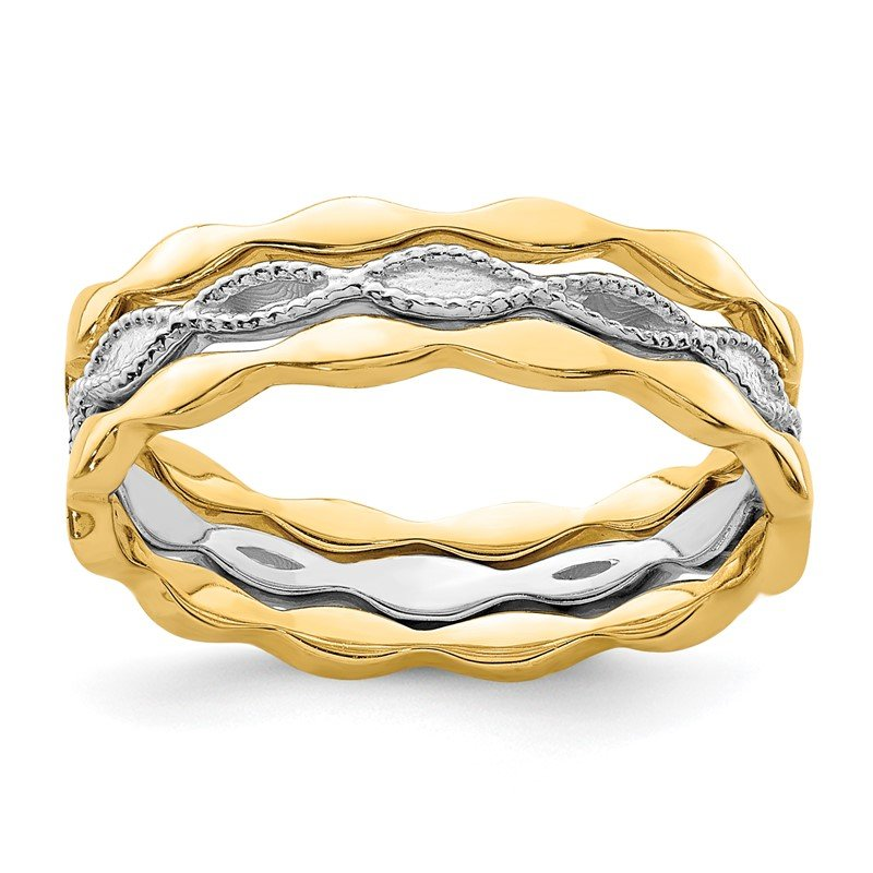 Quality Gold 14K Yellow & White Gold Set of 3 Stackable Rings
