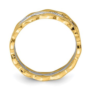 14K Yellow & White Gold Set of 3 Stackable Rings