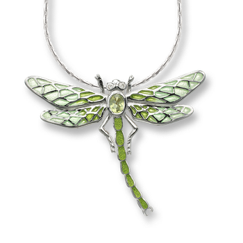 Sterling Silver Dragonfly Necklace-Green.  Diamonds, Peridot.