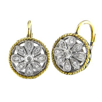18kt and Sterling Silver Round Antique Flower Diamond Euro Wire Earrings