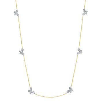 Gold and Diamond Butterfly by the Inch Necklace