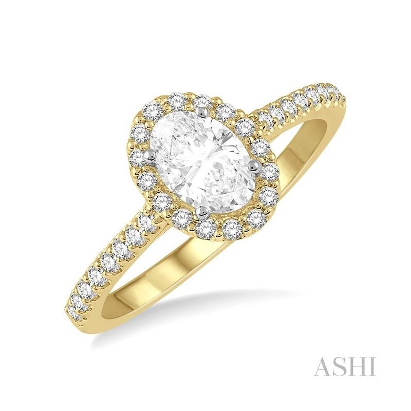 ASHI oval shape diamond engagement ring