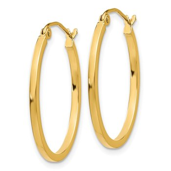 14k Lightweight Fancy Oval Hoop Earrings
