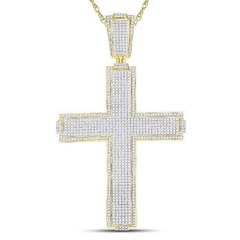 10kt Yellow Gold Mens Round Diamond Roman Cross Charm Pendant 2-1/2 Cttw