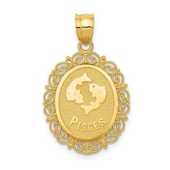 14k Solid Satin Polished Pisces Zodiac Oval Pendant