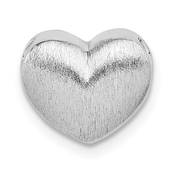 Sterling Silver Rhodium-plated Scratch Finish Heart Chain Slide