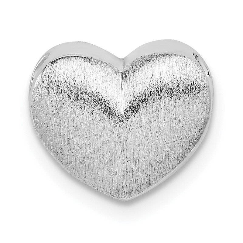 Quality Gold Sterling Silver Rhodium-plated Scratch Finish Heart Chain Slide