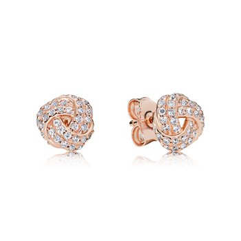 Sparkling Love Knot Stud Earrings, PANDORA Rose™ & Clear CZ