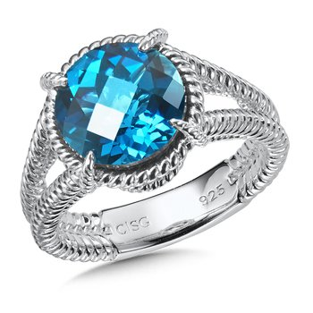 Sterling Silver London Blue Topaz Split Shank Ring