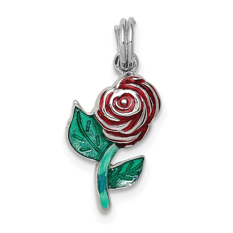 Quality Gold Sterling Silver Green & Red Enamel Rose Charm