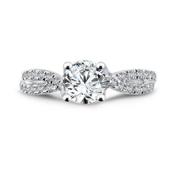 Criss Cross Engagement Ring with Side Stones in 14K White Gold (1ct. tw.)