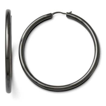 Leslie's Sterling Silver Black-plated 3.5mm Tube Earrings