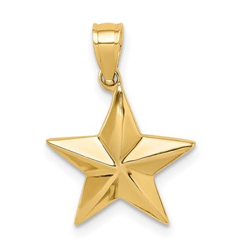 14K Polished Star Pendant