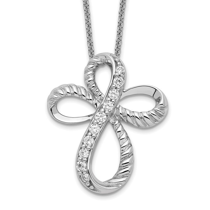 Quality Gold Sterling Silver & CZ Endless Hope 18in Cross Necklace