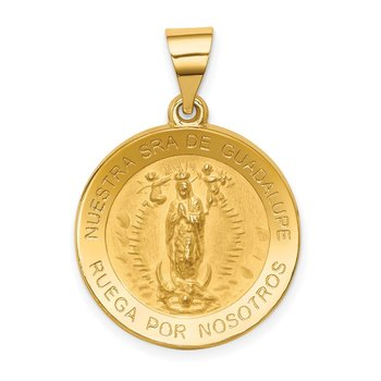 14K Polished/Satin Spanish Our Lady Guadalupe Hollow Medal