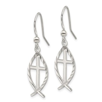 Sterling Silver Diamond Cut Cross w/Fish Earrings