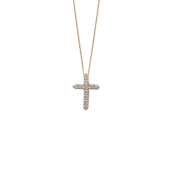 #26571 Of 18Kt Gold Diamond Large Square Cross Pendant