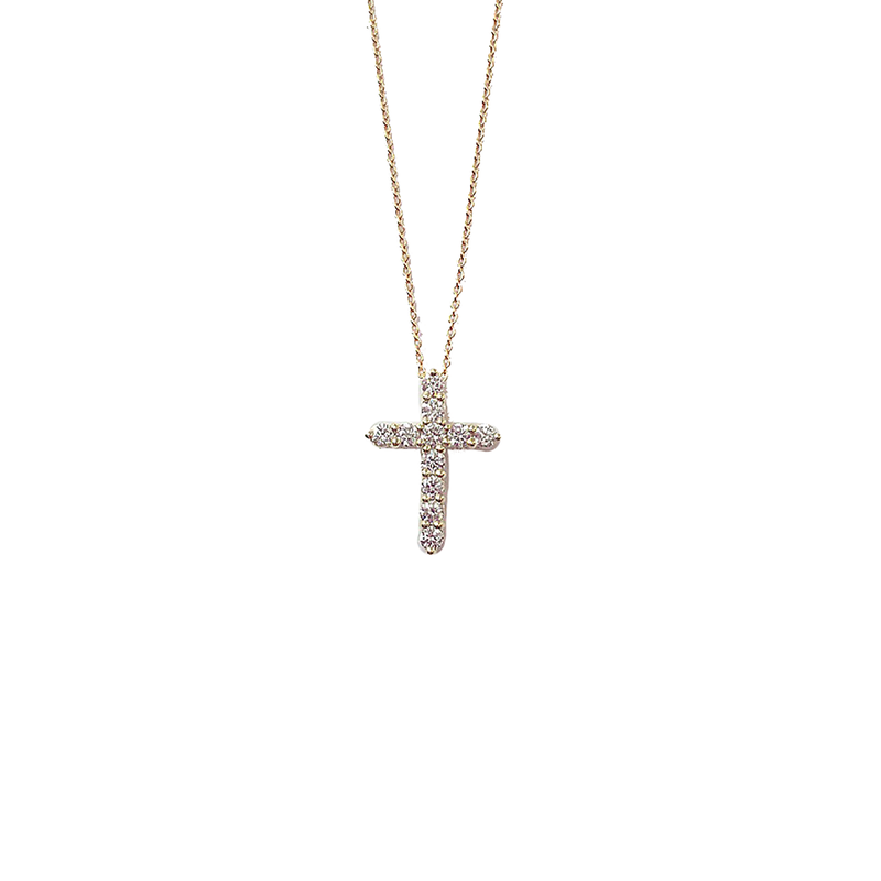 Roberto Coin 18KT GOLD DIAMOND LARGE SQUARE CROSS PENDANT