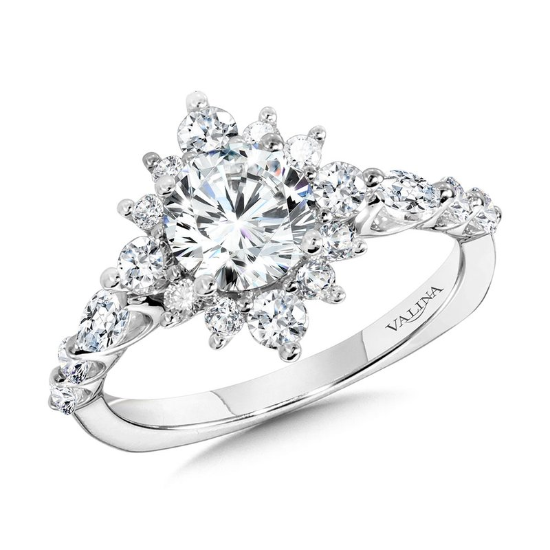 Valina Statement Star Halo Diamond Engagement Ring