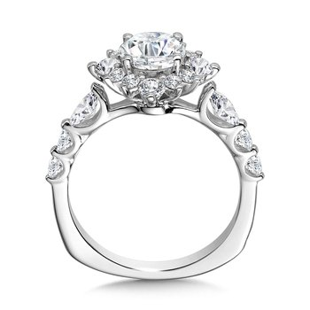 Statement Star Halo Diamond Engagement Ring