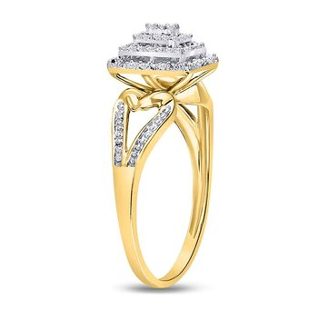 10kt Yellow Gold Womens Round Diamond Cluster Split-shank Ring 1/5 Cttw