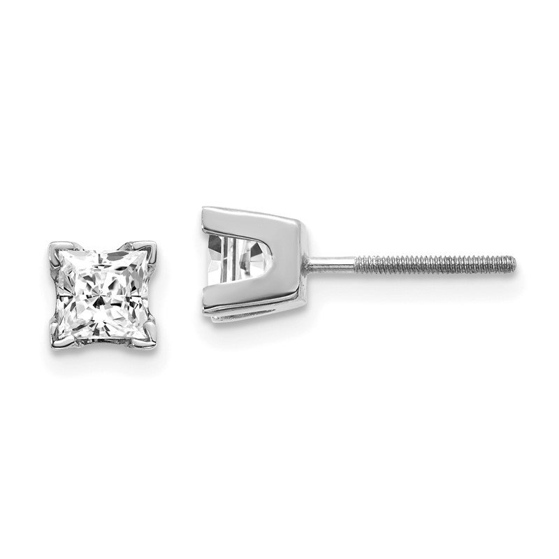 Quality Gold 14k White Gold VS Quality Complete Princess Cut Diamond Earrings