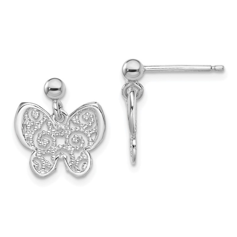 Quality Gold Sterling Silver RH-plated Polished Filigree Butterfly Dangle Earrings