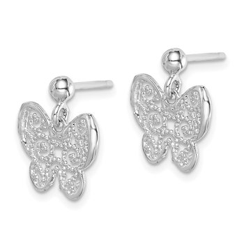 Sterling Silver RH-plated Polished Filigree Butterfly Dangle Earrings