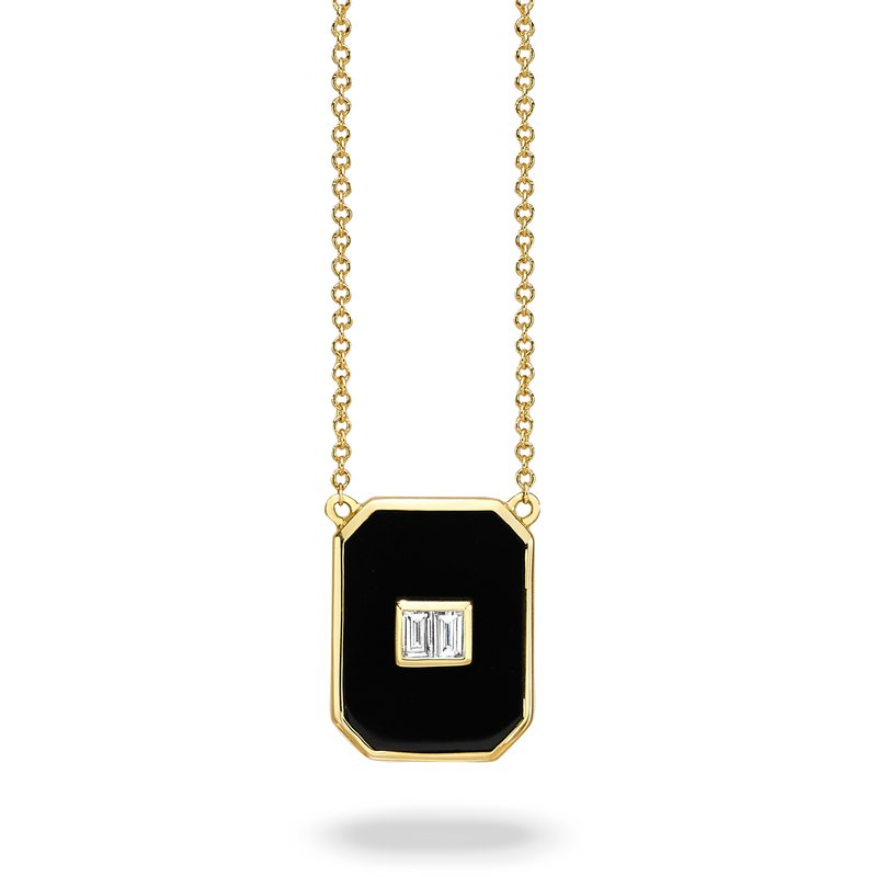 Doves Gatsby Rectangle Onyx Necklace