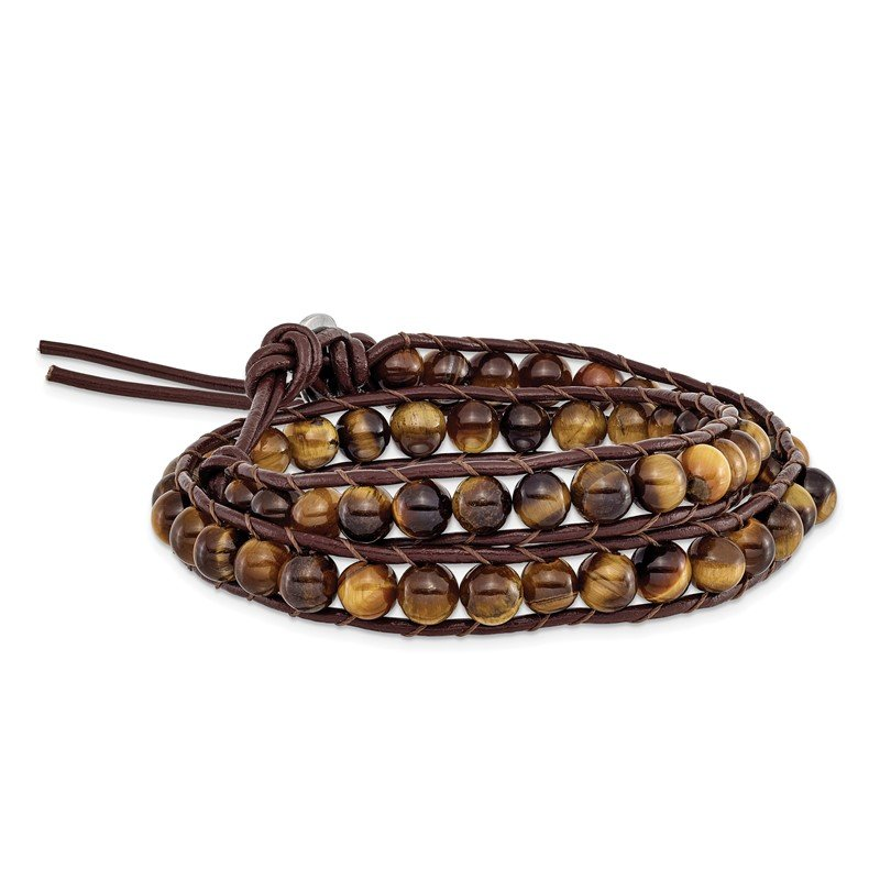 Quality Gold 6mm Brown Beads and Leather Cord Multi Wrap Bracelet